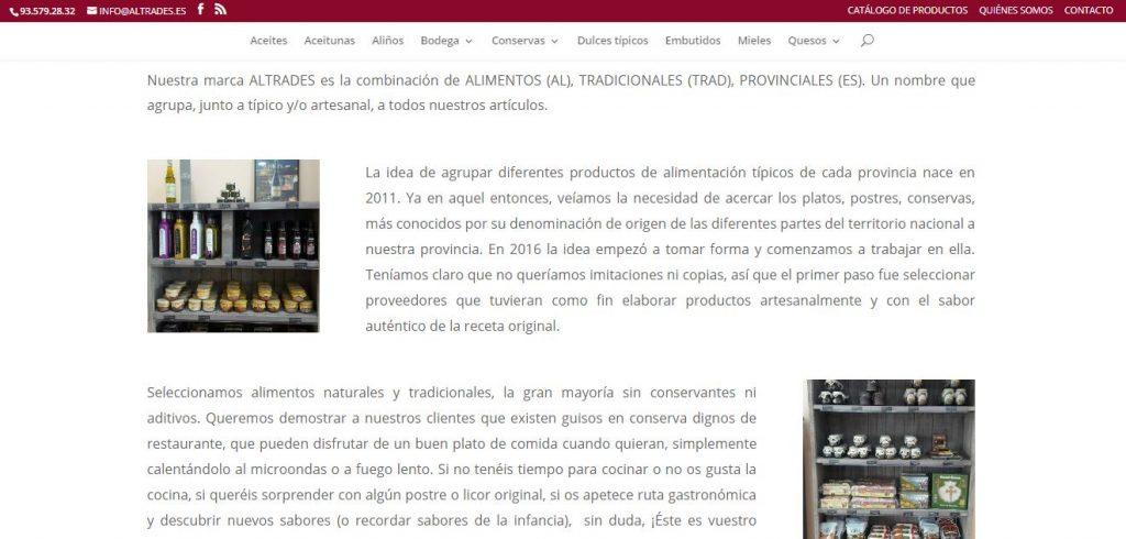Captura de pantalla del diseño de la página de quienes somos