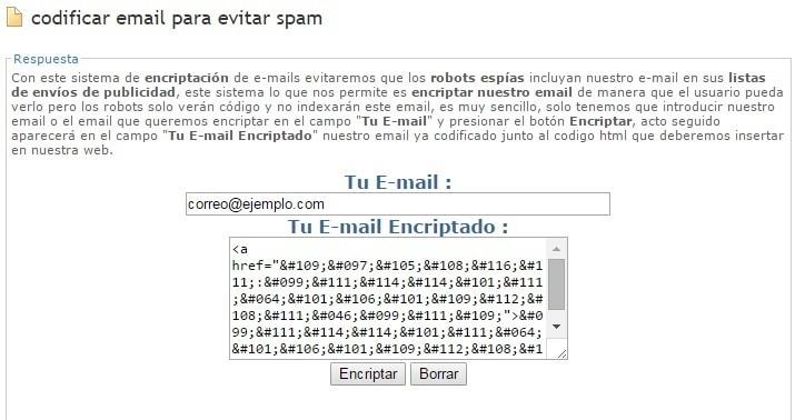 Evitar Spam al correo electrónico encriptando el email