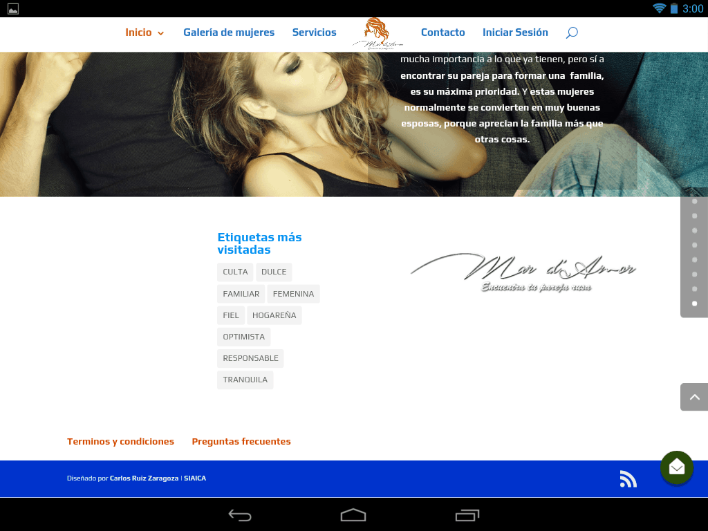 Captura de pantalla del footer de parejaideal.agency