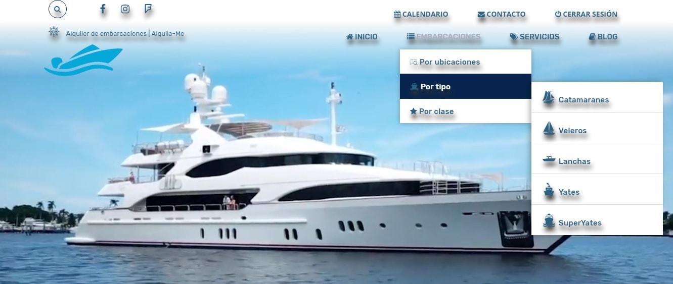 Diseño de la web de alquiler de barcos alquila-me.com