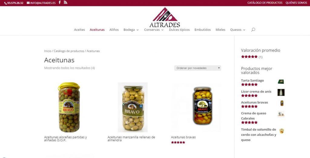 Captura de pantalla del diseño del catálogo de productos