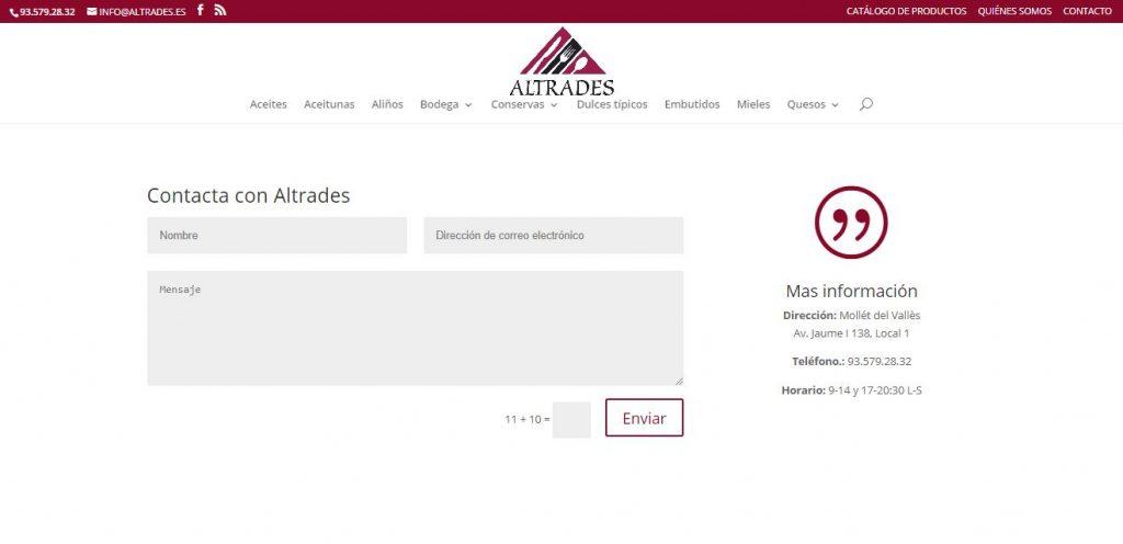 Captura de pantalla del diseño de la página de contacto