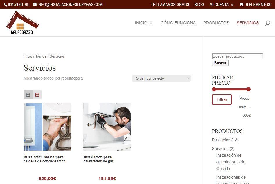 Disseny web per la botiga en línia de el Grupo Bazzo