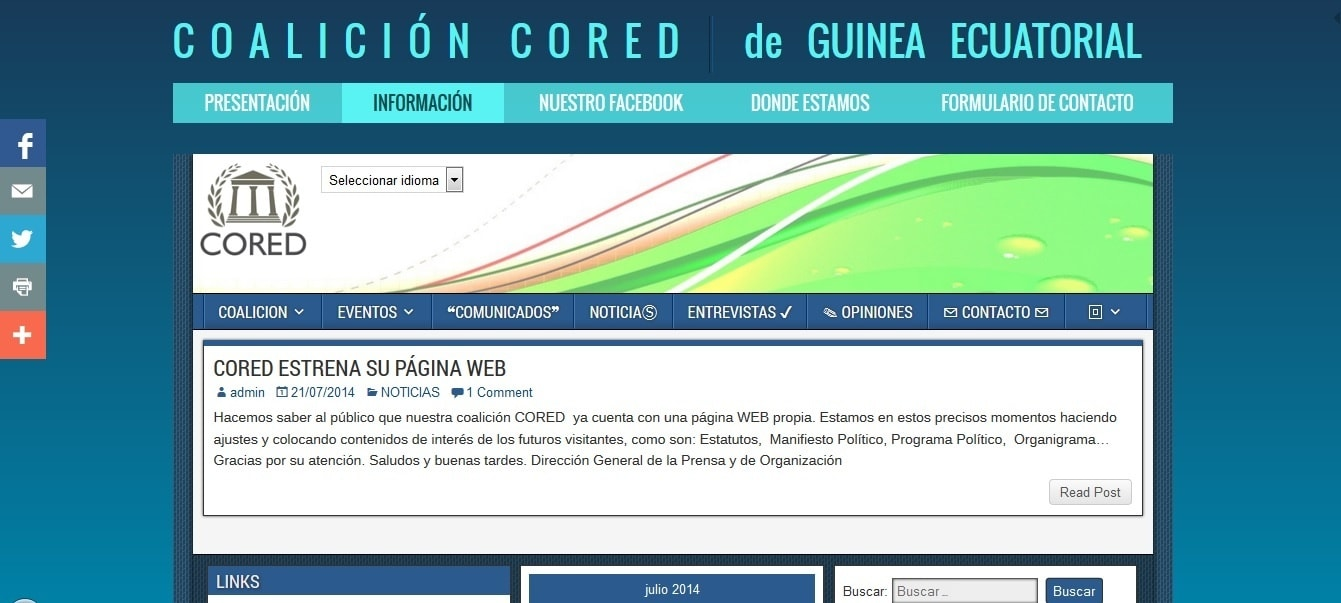 Captura de pantalla del diseño de coalicioncored