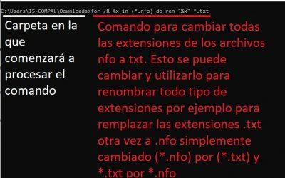 Como cambiar la extensión de muchos archivos en uno solo comando