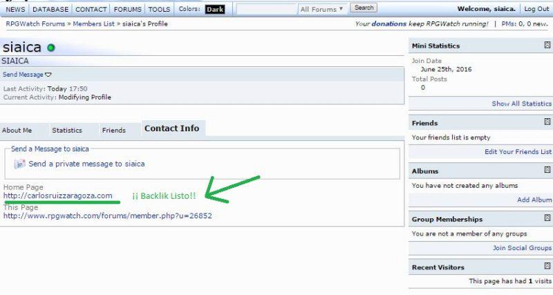 Comprobar el enlace en Contact Info